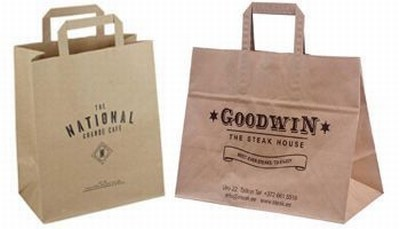 Printed Shopping Bags with Brown Interior