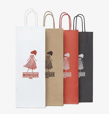 Twisted Handle Paper Wine Bags with Logo