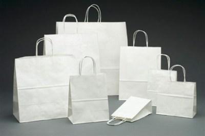 White Kraft Paper Shopping Bags, White kraft shopping Bags
